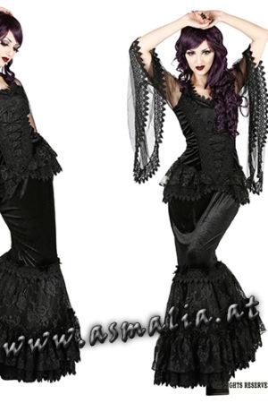 1016 - Gothic mermaid skirt by Sinister Fishtail Samt Rock lang im Gothic Shop Asmalia
