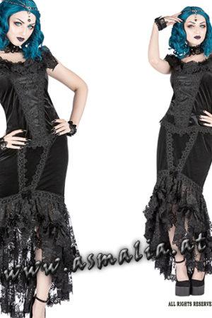 Black velvet morticia mermaid skirt by sinister Fishtail Samt Rock im Gothic Shop Asmalia