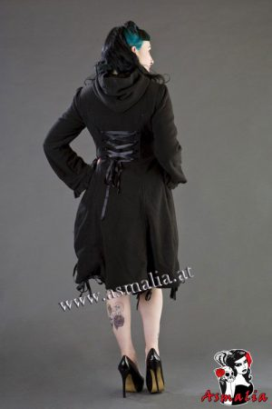 elizabeth womens gothic coat in black fleece burleska 1