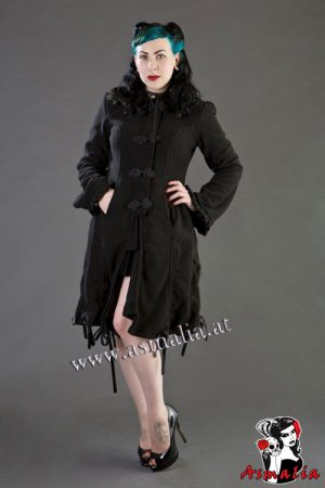 elizabeth womens gothic coat in black fleece burleska