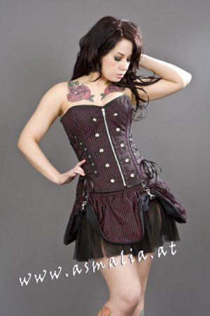 pirate black red striped mini skirt burleska
