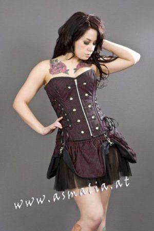 pirate black red striped mini skirt burleska
