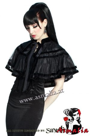 766 - Black mesh and velvet gothic cape by Sinister