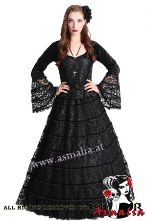 850 - Black lace and satin gothic skirt by Sinister