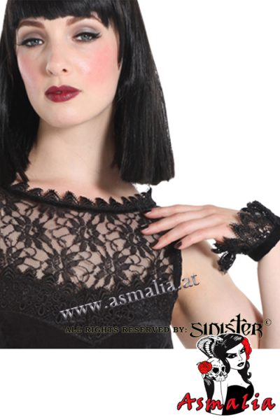 857 - Black lace with velvet gothic top by Sinister