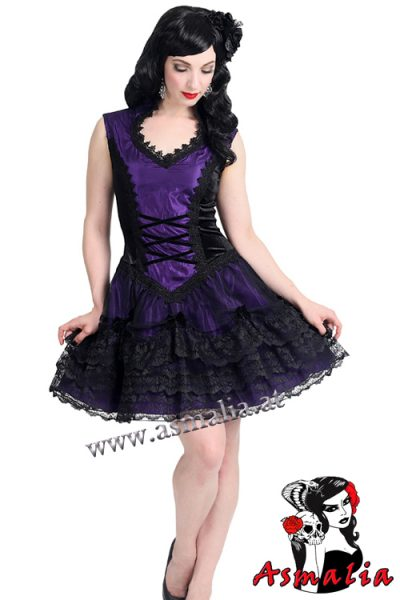 875 - Velvet and satin gothic mini dress by Sinister