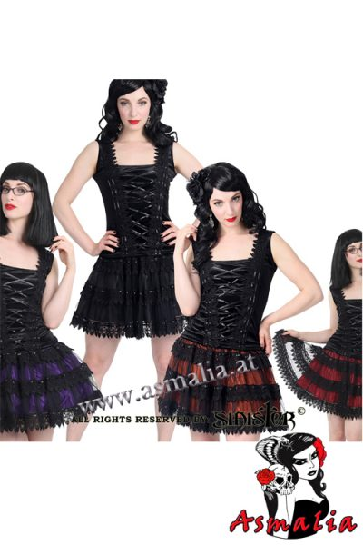 906 - Satin and tulle gothic Miniskirt by Sinister