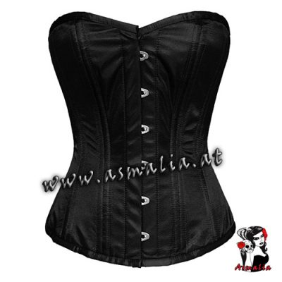 Schwarzes-Satin-Vollbrust-Trainings-Korsett-Asmalia-Gothic-Shop