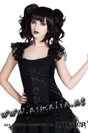 Sinister kurzarm Top Samt und Spitze 969 im Gothic Shop Asmalia - Wien