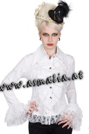 Aderlass Riffle Blouse Fine Denim weiss im Gothic Shop Asmalia - Wien