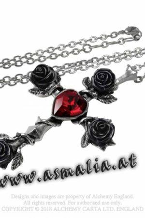 Black Rosifix Kette P758 Herz Rose von Alchemy im Gothic Shop Asmalia
