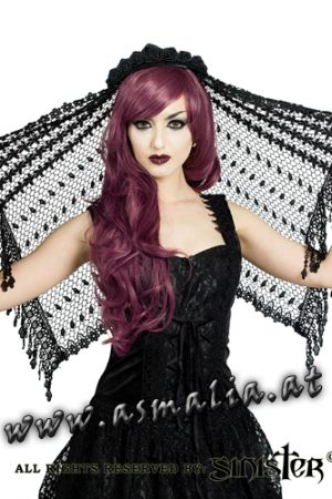 schwarzer kurzer Schleier H036 von Sinister im Gothic Shop Asmalia