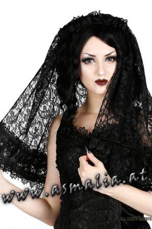 schwarzer kurzer Schleier aus Spitze H045 von Sinister im Gothic Shop Asmalia