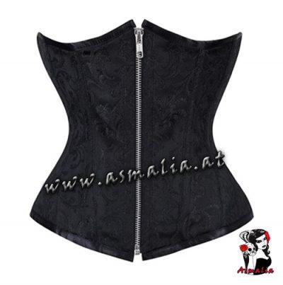 schwarz Brokat Unterbrust Korsett mit Reißverschluss