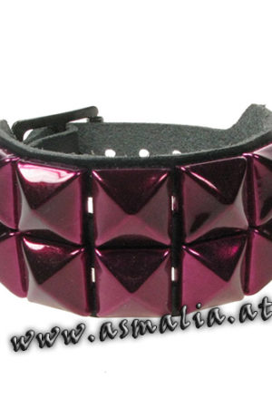 Pyramidennieten Armband 2-reihig metallic burdeau Leder AB009U