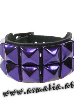 Pyramidennieten Armband 2-reihig metallic lila Leder AB009T