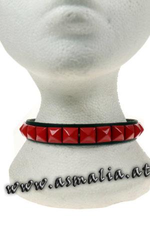 Pyramidennieten Halsband rot Leder hb246c
