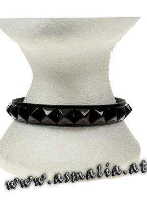 Pyramidennieten Halsband schwarz Leder hb246b