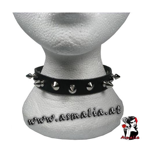 Spitz- und Killernieten Halsband Leder HB189