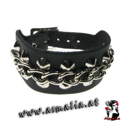 Spitznieten Armband 2-reihig mit Kette Leder AB502