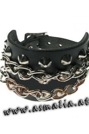 Spitznieten Armband 3-reihig mit Ketten Leder AB503