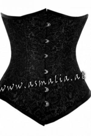 Langes Schwarzes Unterbrust Korsett Brokat Asmalia Gothic Shop
