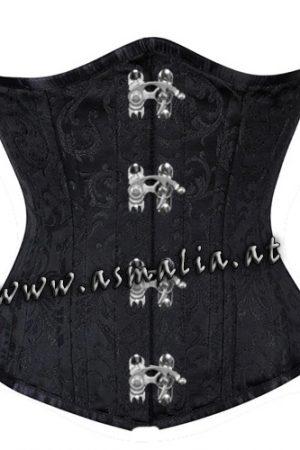 schwarz Brokat Unterbrust Korsett mit Schnallen Asmalia Gothic Shop