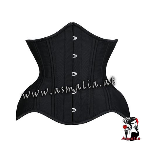 schwarz Satin Curvy Unterbrust Korsett Asmalia Gothic Shop