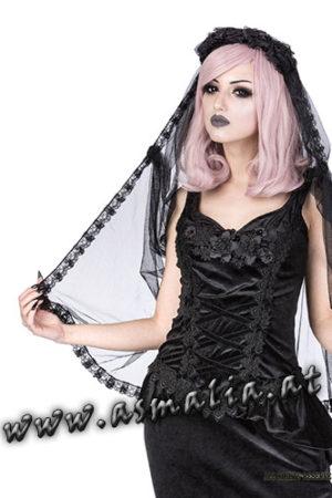 schwarzer Schleier aus Tüll und Spitze H026 von Sinister im Gothic Shop Asmalia