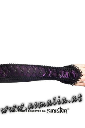 Samtarmstulpen mit Schnürung violett G058 - Velvet and tafetta gloves by Sinister im Gothic Shop Asmalia