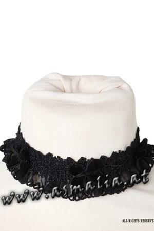 Samtchoker mit Spitze und Schleifen von Sinister C227 - Black lace choker by Sinister im Gothic Shop Asmalia