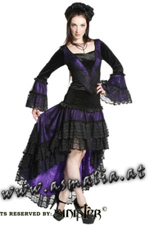 801 - Mesh with lace and Satin fishtail skirt by Sinister Vokuhila Rock Spitze lila im Gothic Shop Asmalia