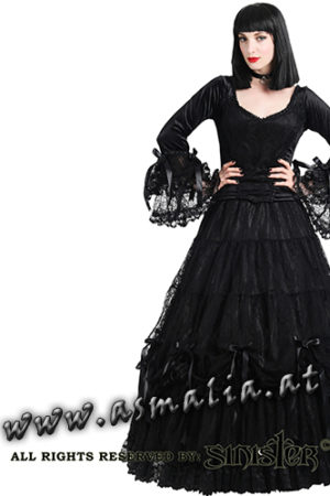 890 - Black satin and lace gothic victorian skirt by Sinister Bodenlanger Rock im Gothic Shop Asmalia