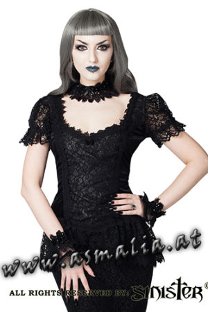 985 - Velvet and lace gothic top by Sinister Samt Oberteil kurzarm im Gothic Shop Asmalia
